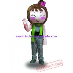Cartoon Character Happy Girl Mascot Costume