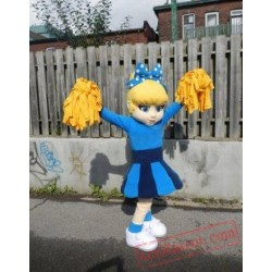 Blue Dress Cutie Cheer Leader Mascot Costume
