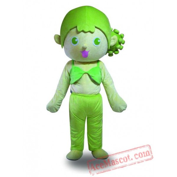 Green Hair Girl Mascot Costume