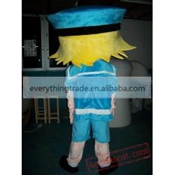 Cute Blue Hat Girl Mascot Costumes