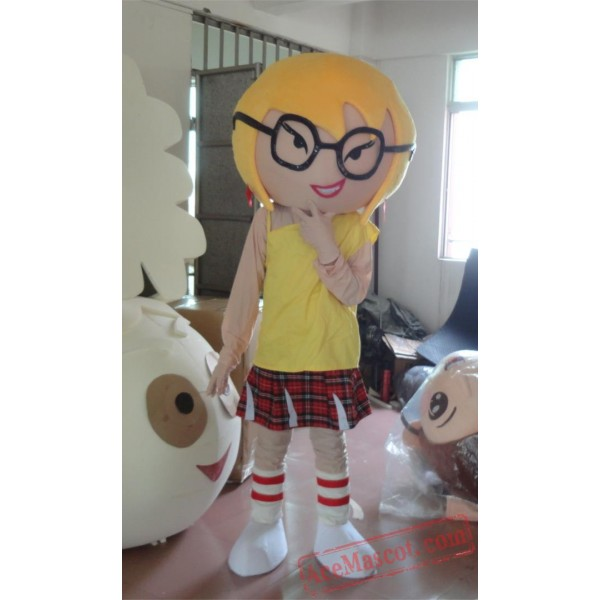 Attractive Girl With Glasses Mascot Costume