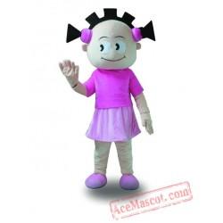 Pink Coat Girl Mascot Costume