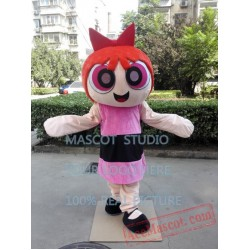 Pink Girls Mascot Costume Cartoon Character