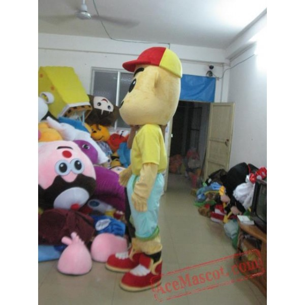 Adult Cartoon Boy Mascot Costume with Red Hat