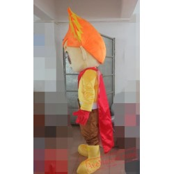 Fire Boy Costume Plush Adult Fire Head Mascot Costume