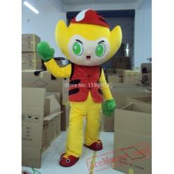 Yellow Boy Mascot Costume Cartoon Character