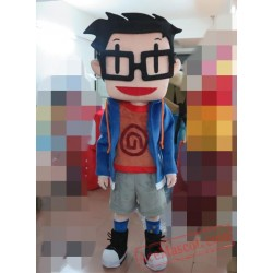 Character Adult Lovely Glasses Boy Mascot Costume