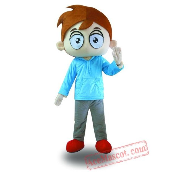 Big Eyes Boy Mascot Costume