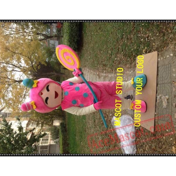 Candy Girl Mascot Costume Christmas Cane Costume