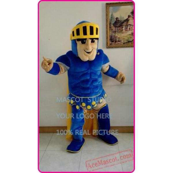 Blue Knight Mascot Costume Spartan Trojan Cotume