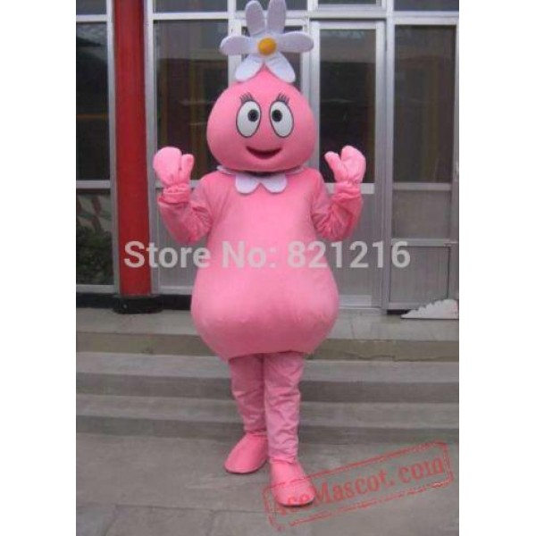 Adult Pink Flower Girl Mascot Costumes