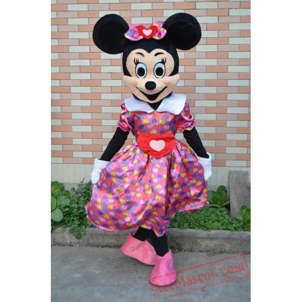 Adult Minnie Mascot Costume With Colorful Dress
