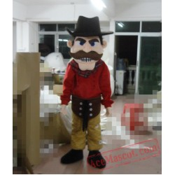 Captain Pirate Of The Caribbean With Brown Beard Mascot Costume