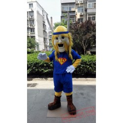 Blue Viking Man Mascot Costume
