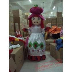 Sweet Pink Strawberry Girl Mascot Costume