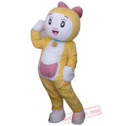 Adult Cartoon Cute Yellow Cat Mascot Costume