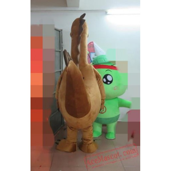 Adult Brown Dinosaur Mascot Costume