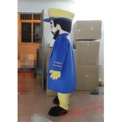 Bearded Captain Mascot Costume Adult Captain Mascot