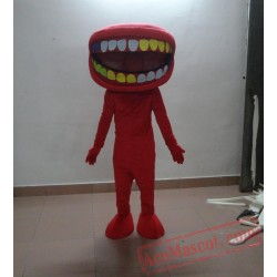 Adult Cartoon Red Big Mouth Doll Mascot Costume