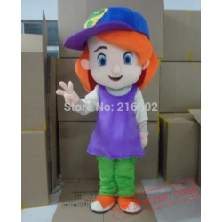 Baseball Girl Mascot Costume Red Hair