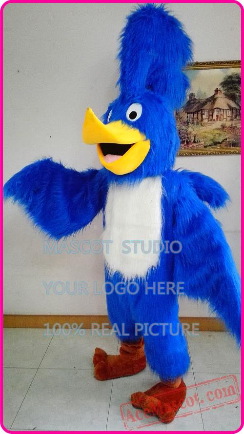 Blue Roadrunner Mascot Costume