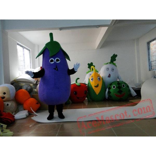 Adult Cartoon Character Cute Eggplant Mascot Costume