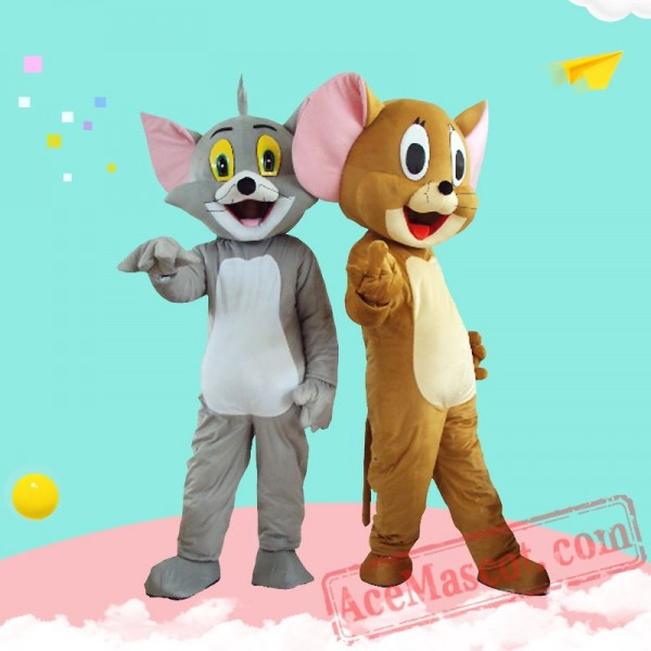Tom Cat Jerry Mouse Mascot Costume for Adults