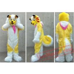Yellow Long Fur Husky Fox Dog Mascot Costume