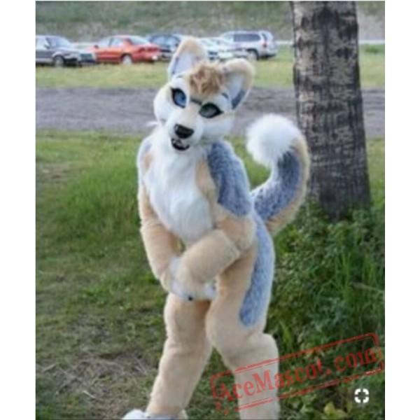 Long Fur Brown White Husky Dog Fursuit Mascot Costume