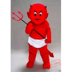 Adult Red Boy With Fork Mascot Costume