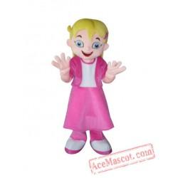 Yellow Hair Girl Mascot Costume