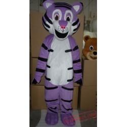 Adult Purple Tiger Mascot Costume