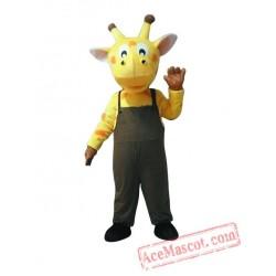 Yellow Giraffe Mascot Costume