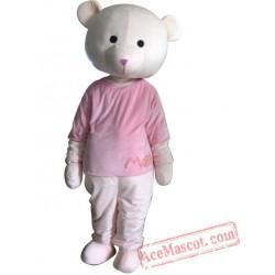 Adult Pink Coat Bear Mascot Costume