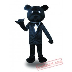 Adult Black Suit Dog Mascot Costume
