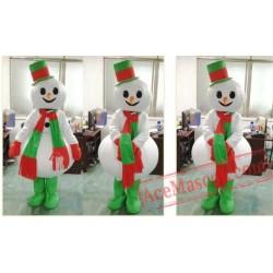 Adult Green Scarf Snowman Mascot Costume