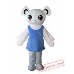 Adult Blue Dress Bear Mascot Costume
