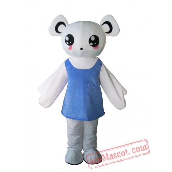 Adult Blue Dress Bear Mascot Costume