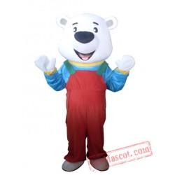 Adult Red Pants Bear Mascot Costume