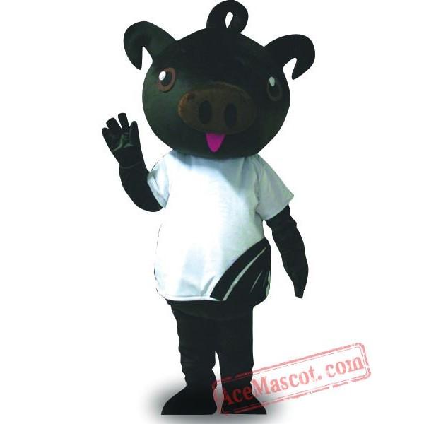 Adult Black Pig Mascot Costume