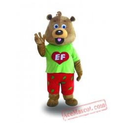 Adult Green Coat Bear Mascot Costume