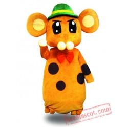 Adult Green Hat Mouse Mascot Costume