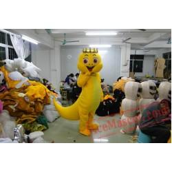 Yellow Tail Dinosaur Cartoon Mascot Costume