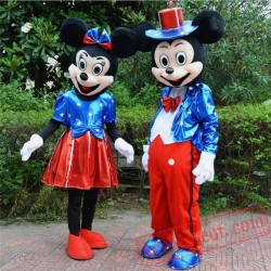 Disney Blue Mickey / Minnie Mouse Mascot Costume for Adult